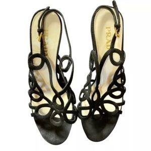 Prada Black Suede Heels Size 5.5 With Dust Bag